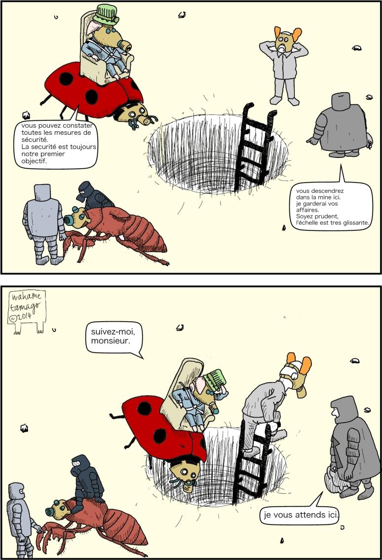 Mettez vos masque à gaz ! ! ! on descend dans la mine de champignons énergétiques. Il y a une cigale géante.
