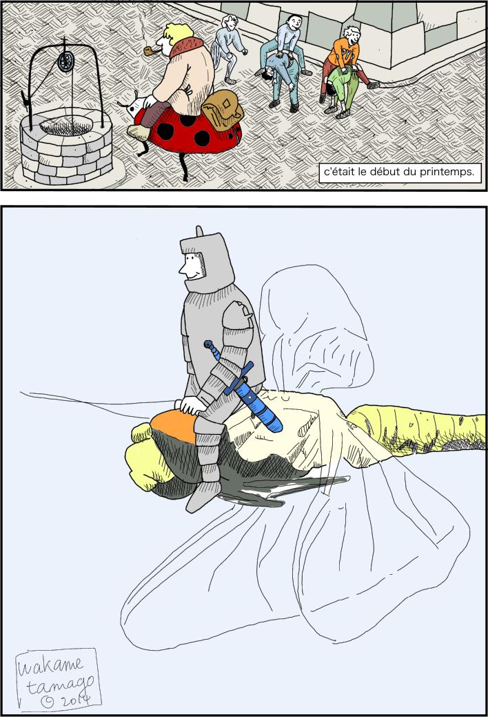 Un Soldat en armure monte une libellule.