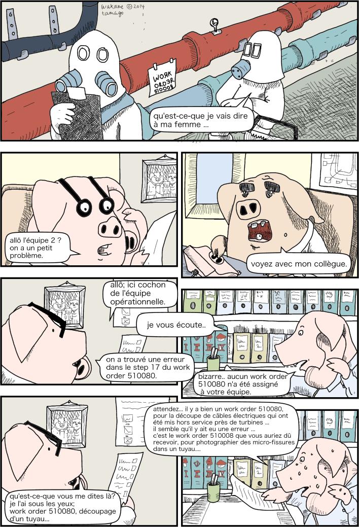 Maintenance dans la bouilloire. Cochon essaie d'identifier le problème du numéro du work order.