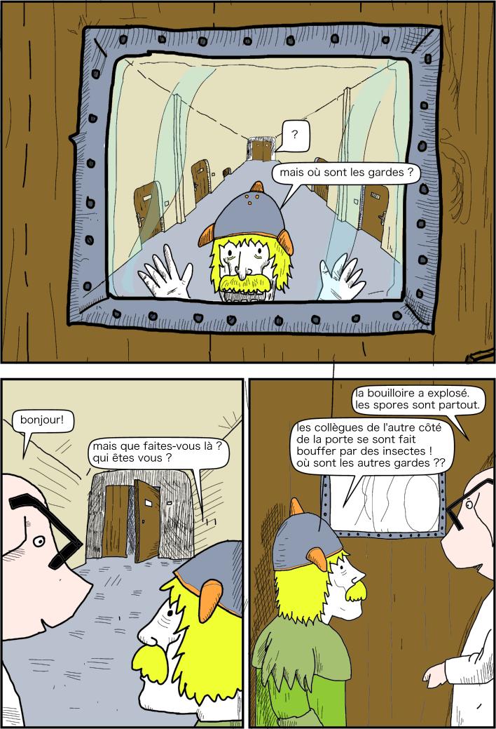 cochon parvient à la prison on l'on garde les prisonniers politiques. discussion avec le geôlier.